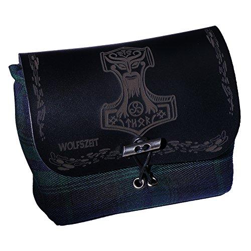 Schwarze Leder-gürtel-tasche (Grüne Gürtel- / Kilttasche