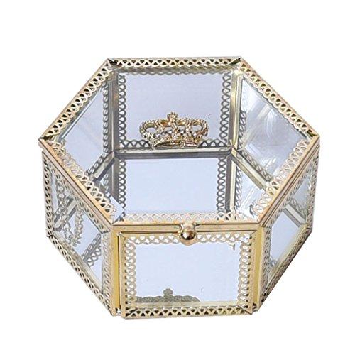 D DOLITY Samt Glas Schmuckschatulle Display Aufbewahrungskoffer Halter Ring Ohrringe Organizer Stand (Crown Schmuck-display Royal)