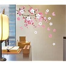 richmondcup YHF-0110 - Adhesivos decorativos para pared con diseño de flores y mariposas, 600X900mm