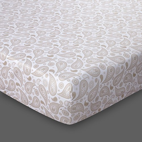BEDSURE Spannbettlaken 180x200cm Spannbetttuch Set mit Kissenbezüge Mikrofaser Bettlaken für Bett Türkisch Paisley Muster weiß & Beige