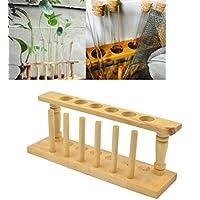 Kesheng Reagenzglashalter Reagenzglasständer aus Holz für 6 Reagenzgläser Durchmesser 2.2cm