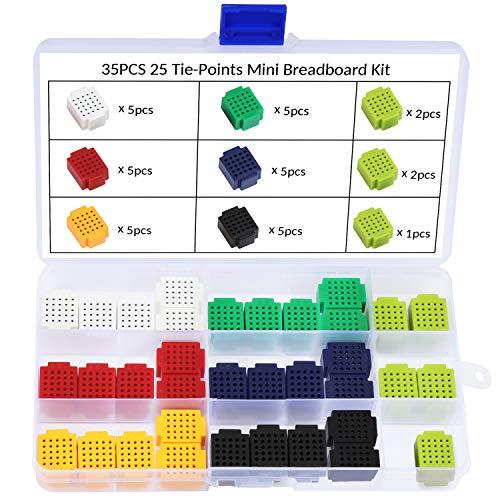 WiMas 35 Stück 25 Tie Points Mini Breadboard Kit, Elektronisches lötfreies Breadboard für Arduino (Projekte Kits Elektronische)