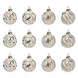 Multistore 2002 12 Stück Weihnachtskugeln Ø6cm 2 Sorten, Weiß und Gold, Glaskugeln Weihnachtsbaumkugeln Christbaumkugeln Christbaumschmuck Baumschmuck Dekokugeln