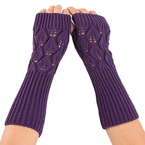 TEBAISE Handschuhe Damen für Frauen Armstulpen für Halber Finger Warme Handschuhe für Frauen...