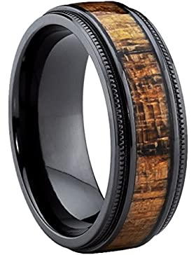Ultimate Metals Co.® 8MM Herren Schwarz Titan Ehering mit Holzeinlage,Bequemlichkeit Passen