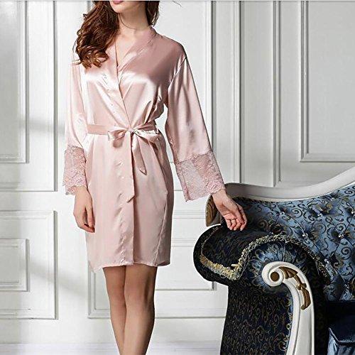 HXQ Damen Nightgown Spitze Nightgown Kleid Eiskaffe Bad Bademantel , champagne Champagne