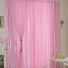 Burbuja linda Círculo Impreso Tul Telas Bella Sheer Panel de muro cortina-Rosa