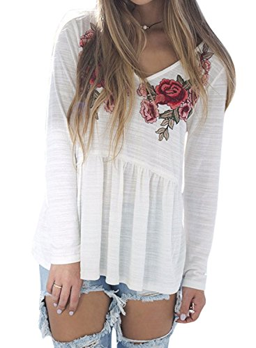 N.Life Nlife Frauen Langarm V-Ausschnitt Bestickte Slub Baumwolle T-Shirt Bluse Top Tunika Shirt (Bestickte Tunika Shirt)