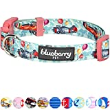 Blueberry Pet Traumhöhen Flugzeug & Luftballon Designer Hundehalsband in Eton-Blau, L, Hals 45cm-66cm