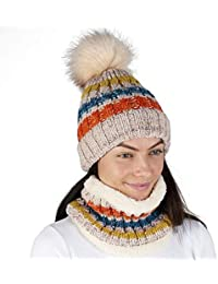392995cca3e620 Hat and Circle Scarf Set for Women Winter Warm Knitted Beanie Pom Pom  Scarfs for Ladies