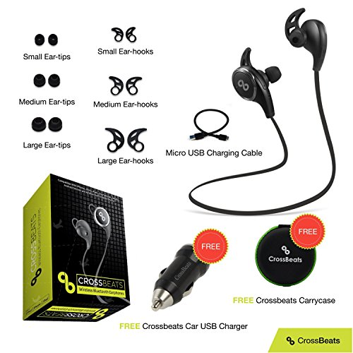 CROSS BEATS QY8 [UPGRADE VERSION] Wireless Bluetooth Headset V4.1 Sports Wireless Bluetooth Headphones Running Gym Exercise Sweatproof Headsets NOISE CANCELLING Bluetooth Earphones with Mic/Apt-X for iPhone, iPad, Samsung, Android Smartphone Tablets - Black