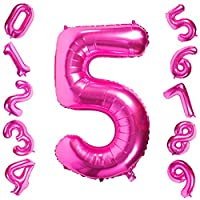 40 Inch Large Pink Number 0-9 Balloons,Foil Helium Digital Balloons for Birthday Anniversary Party Festival Decorations