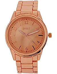 Spirit Ladies Analogue All Rose Gold Tone Metal Bracelet Strap Watch ASPL62