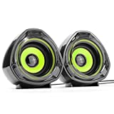 WESDAR PC Speakers Portable 3.5mm Jack USB Powered Multimedia Computer for Mac iMac Gaming PC Laptop Desktop Notebook Computer Tablet, Pack of 2, Black and Green, BkG-160