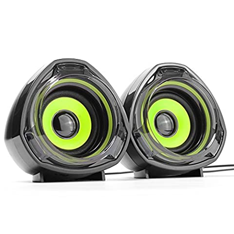WESDAR PC Speakers Portable 3.5mm Jack USB Powered Multimedia Computer for Mac iMac Gaming PC Laptop Desktop Notebook Computer Tablet, Pack of 2, Black and Green,