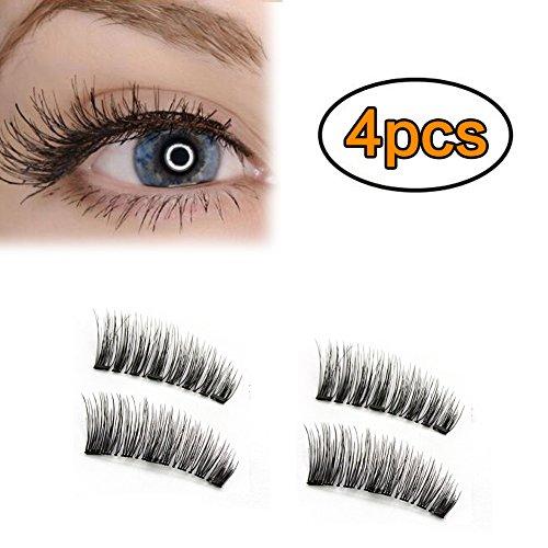 Mojidecor 1 paio/4 pz magnetiche finte ciglia lunghe copertura piena per occhi effetto naturale 3d ciglia artificiali riutilizzabili con 3 magneti creano occhi affascinanti