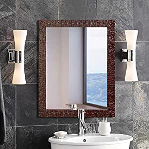 Art Street Marble Red Wall Mirror Inner Size 12 x 18 inch, Outer Size 15 x 21 inch