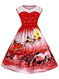 NEWISTAR Womens Sleeveless Santa Printed Christmas Party Dress Fit and Flare Cocktail Dresses