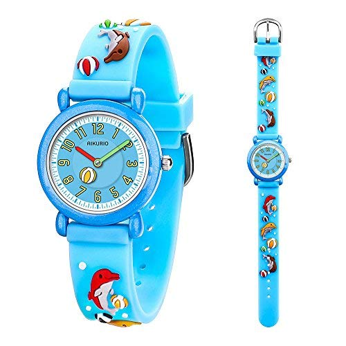 AIKURIO Kinder Uhr Analog Quarz 30M Wasserdicht mit 3D Cartoon-Muster SilikonBand AKR007 -