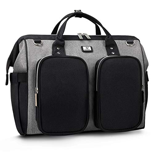 Schwarz Passt Grau (Pomelo Best Wickeltasche mit wasserdicher Wickelunterlage und 2 Kinderwagen Haken verstellbare Schultergurt multifunktionale Umhängetasche Reisetasche für Unterwegs (Schwarz/Grau))