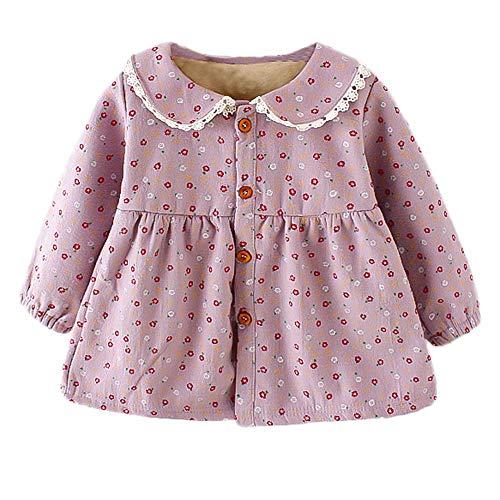 Baby Mädchen Kleid Princess Kleider Warm Blumendruck Blusenkleid Outfits Kleidung Set XXYsm Violett ❤90/12-18 Monate