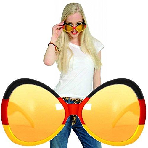 BRILLE * als Verkleidung für EM 2018, Karneval oder Fussball Mottoparty // FEMALE // Geburtstag Kindergeburtstag Fan Brille schwarz rot gold Germany (Fußball-fan-halloween-kostüme)