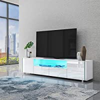 Homeaning 2 Doors 2 Drawers with Open Case in 173cm High Gloss Front Storage Cabinet Sideboard Cupboard Wooden TV Stand Entertainment Unit with RGB LED Light (White)