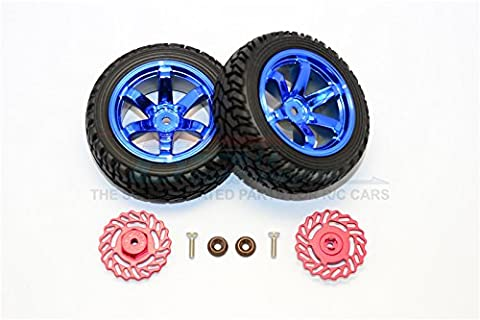 Traxxas LaTrax Teton & LaTrax SST Upgrade Pièces Aluminium Brake Disk +2.5mm Thick With Tires And Wheels - 4Pcs Set Red+Blue