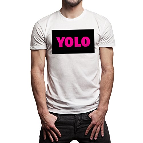 YOLO Black Pink Name Background Herren T-Shirt Weiß
