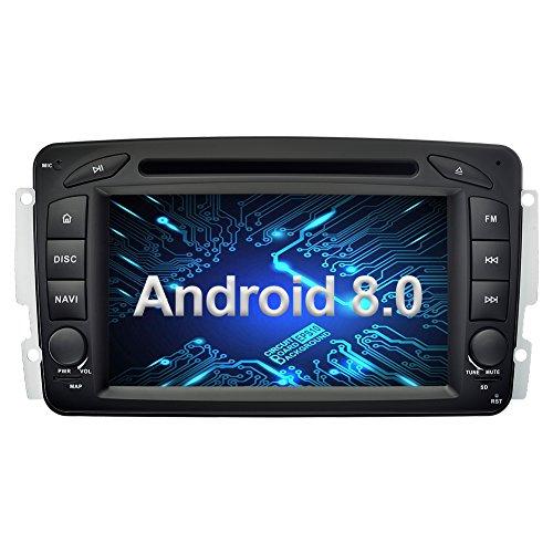 Ohok 7 Zoll Bildschirm 2 Din Autoradio Android 8.0 Oreo Radio mit Navi DVD GPS Navigation Unterstützt Bluetooth DAB+ für Mercedes-Benz C Class/CLK / A-Class - Benz Mercedes Verstärker