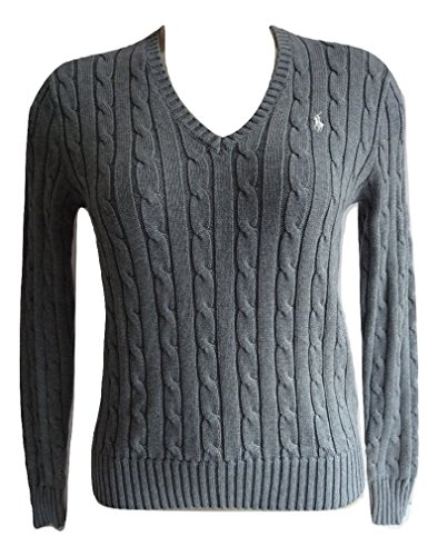 Polo Ralph Lauren Cable Knit V-Neck Cotton Pullover Kimberly S Grau