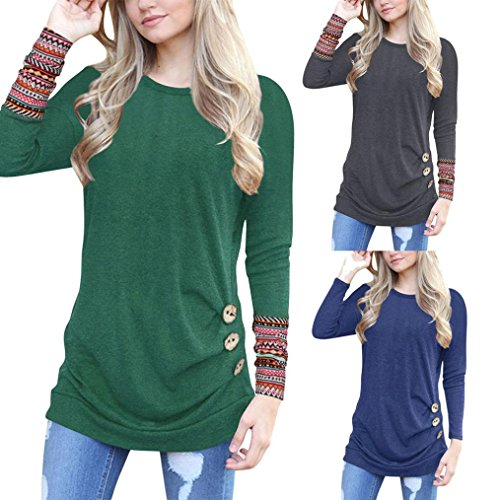 OverDose Women Top Long Sleeve Loose Button Trim Patchwork Tunic T-Shirt