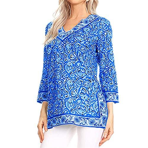 ZahuihuiM Plus La Taille Pull pour Les Femmes Casual Col en V Folk-Custom Print Tops À Manches 3/4 De Mode Nouveau T-Shirt Blouse