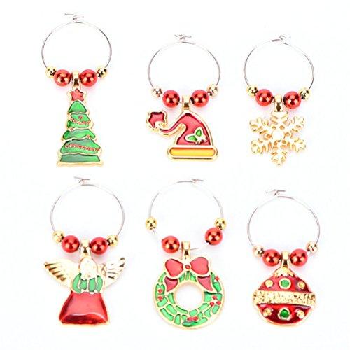 Bestim incuk 6Stück Weinglas-Charms Ringe Wohltätigkeitszwecke Weinglas Marker für Weihnachten Party Bar Tischdekorationen