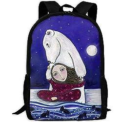 HOJJP am meisten haltbare leichte klassische wasserfeste Schulrucksack eine Größe - Eisbär Kunstdruck skurrilen Volkskunst Kinder Wand Dekor