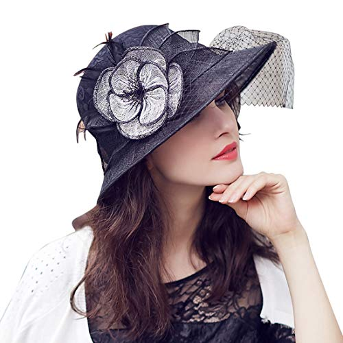 Sonnenschutz-Zylinder für Damen-Castor-Hut-weibliche Blumen-Ineinander greifen Sun-Hut Hut (Farbe : Schwarz, Size : M) Castor Straw Fedora