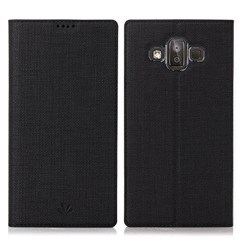 Eastcoo Samsung Galaxy J7 Duo 2018 Hülle, J7 Duo PU Leder Folio Flip Case Dünn Premium klappbares Book TPU Cover Bumper Tasche Mit Standfunktion Magnetverschluss Kartenfach Wallet Handyhülle (Black)