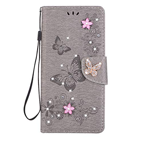 Galaxy Note 9 Case [Free Tempered Glass Screen Protector],Mo-Somnus Luxury Handmade Bling Sparkly Diamonds Gems Butterfly Design Wallet Case Cover for Samsung Galaxy Note 9 (Grey)