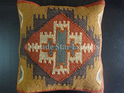Kilim cojín, almohadas hechas a mano, fundas de cojín indio, fundas de 18x 18, funda de almohada...