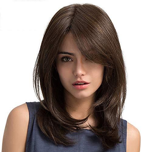 Solike Lange Lockige Wellenförmige Perücken Braun Haar als Echte Haar Perücke für Frauen Cosplay Perücken Karneval Kostüme (Braun)