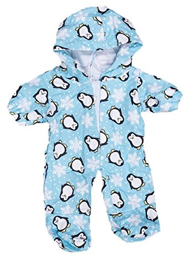 Blauen Pinguin Pyjama Teddybär Outfit Kleidung, für Teddybären von 20 cm bis 25 cm von Kopf bis Fuß, Taille 23cm-28cm