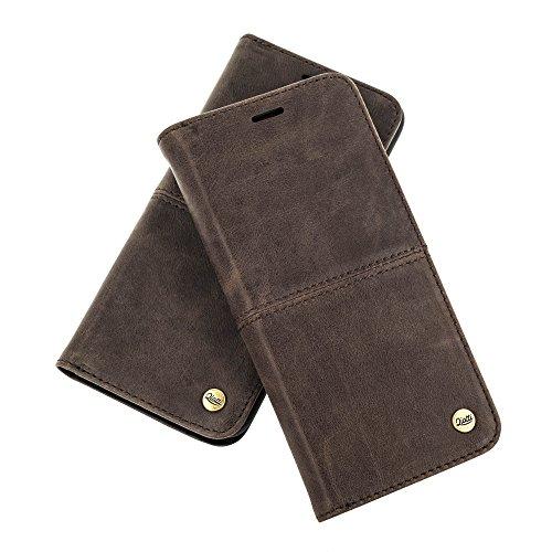 QIOTTI >             SAMSUNG GALAXY S8             < incl. PANZERGLAS H9 HD+, RFID Schutz, 2-in-1 Booklet mit herausnehmbare Schutzhülle, magnetisch, 360 Grad Aufstellmöglichkeit, Wallet Case Hülle Tasche handgefertigt aus h KAFFEE