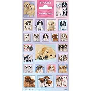 speel Goed 1100565-Papeterie y Pegatinas Stickers schattige hondjes, Multicolor