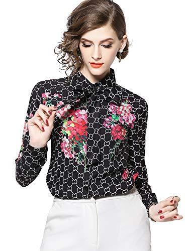 LAI&MENG Damen Elegant Bluse mit Am Ausschnitt Gebunden Langarm Hemd mit Paisleymuster Tops