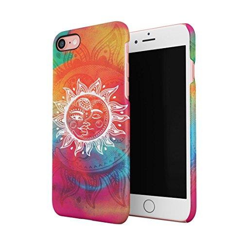 Henna Golden Ornamented Mandala Custodia Posteriore Sottile In Plastica Rigida Cover Per iPhone 7 & iPhone 8 Slim Fit Hard Case Cover Sun & Moon Yin Yang
