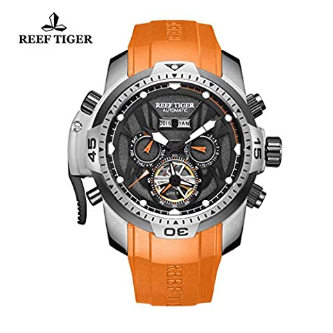 Reef Tiger Mens Sport lumineux mains Orange acier montre automatique RGA3532