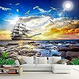 Wandgemälde Benutzerdefinierte Fototapete 3D Meerblick Seagull Segelboot Sonnenaufgang Landschaftsmalerei Wohnzimmer Sofa Schlafzimmer Wandbild,160Cm(H)×250Cm(W)