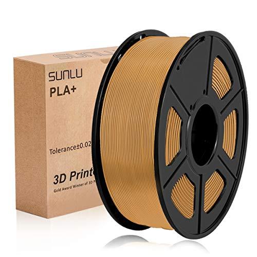SUNLU 3D Printer Filament PLA+,PLA+ Filament 1.75 mm,Low Odor Dimensional Accuracy +/- 0.02 mm 3D Printing Filament,2.2 LBS (1KG) Spool 3D Printer Filament for 3D Printers & 3D Pens, Coffee Brown ...