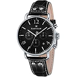 Thomas Earnshaw Men's Chronograph Investigator Quartz Watch with Black Dial Analogue Display and Black Leather Strap ES-8001-03