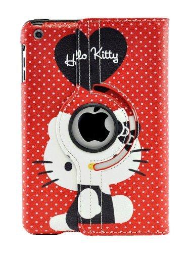 livitech (TM) Hello Kitty Design 360Grad Drehbar PU Leder Hard Case für Apple iPad 432iPad Mini Rot/Schwarz iPad Mini -